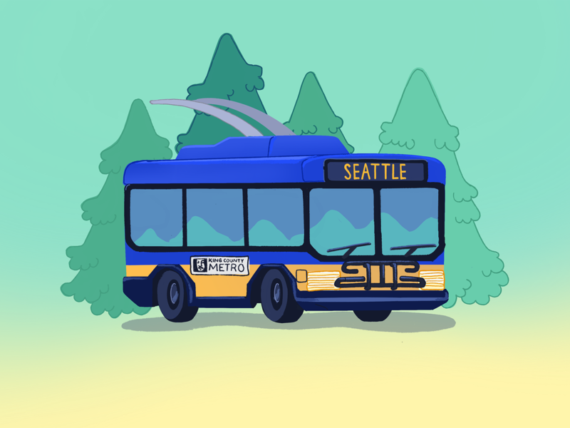 Seattle bus cascadia pnw metro seattle buses public transportation public transit plant illustration environment design illustration