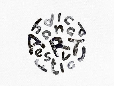 Handicap Art Festival logo lettering marble handmade typography art festival design