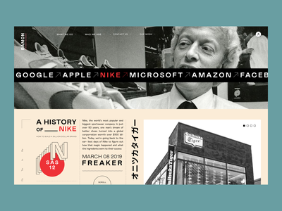History of Nike nike story typography layout desktop hero web design ux ui minimal creative concept clean banner