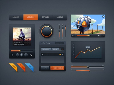 Dark Velvet UI Kit ui kit ui pixelkit interface dark
