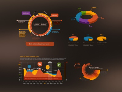 Crooked Stats Infographic Kit infographic ui kit pixelkit