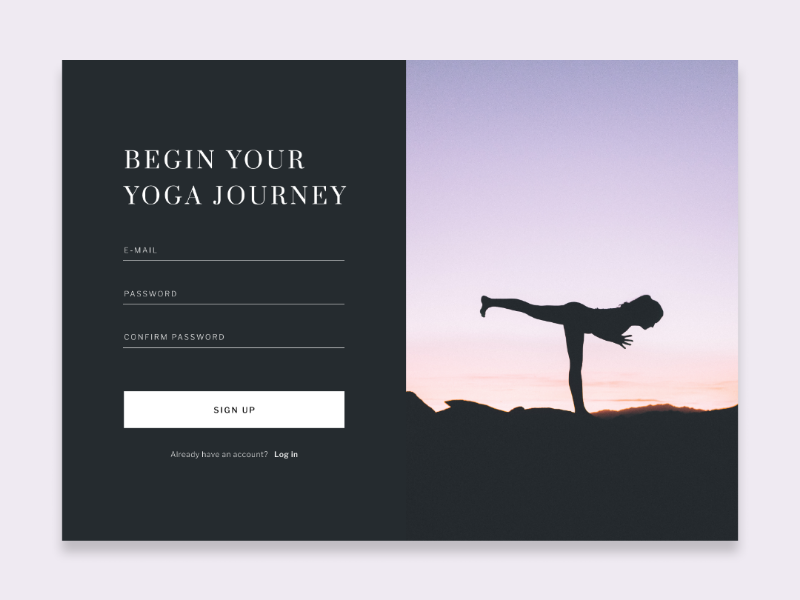 Yoga sign up page daily ui challenge sign up page ui challenge yoga app dailyui