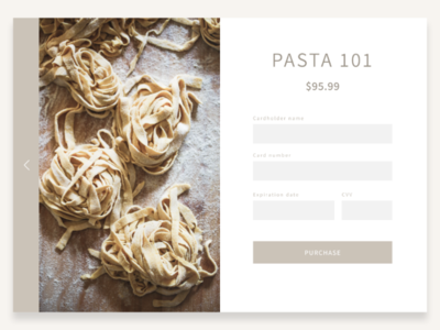 Checkout page for pasta class