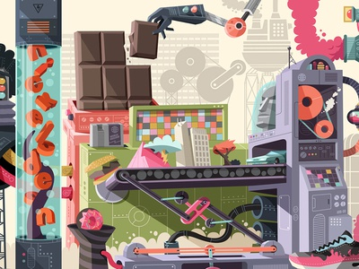 Nickeoldoen Garage Mural 3 design artwork art machines color nickelodeon vector illustration