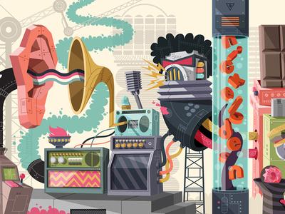 Nickeoldoen Garage Mural 4 vector nickelodeon machines illustration design color artwork art