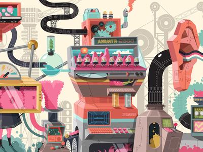 Nickeoldoen Garage Mural 5 vector nickelodeon machines illustration design color artwork art