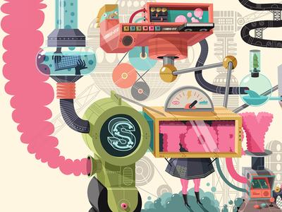 Nickeoldoen Garage Mural 6 vector nickelodeon machines illustration design color artwork art