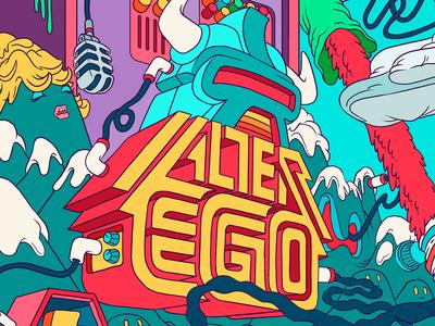 Alter Ego typography cartoons mural vector illustration