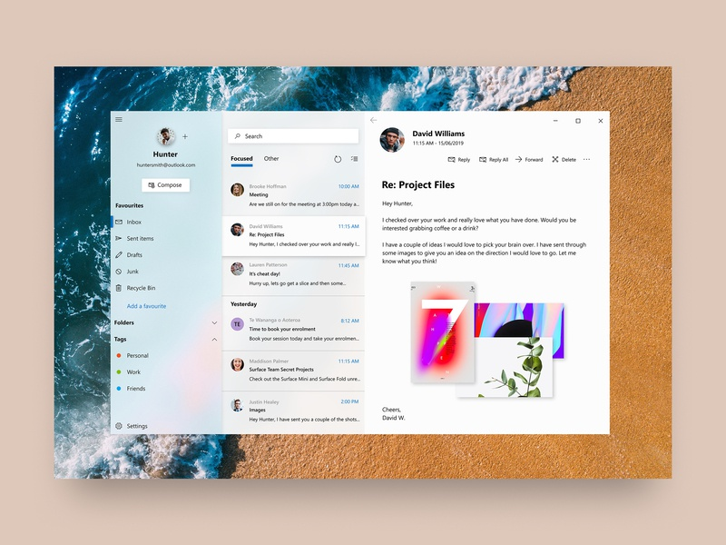 Windows 10 Mail app by Cage Ata on Dribbble