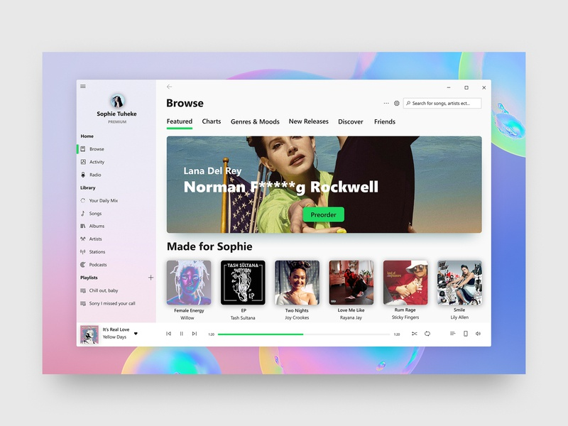 Spotify for Windows 10 by Cage Ata on Dribbble