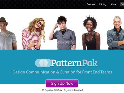PatternPak Landing - Second concept website landing button people