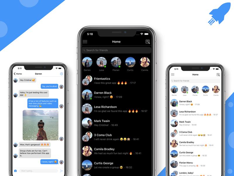 Chat App in React Native telegram discord whatsapp imessage messenger message app messaging chatting chat app chat react native