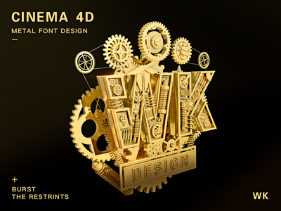 Design of 3D Metal Font design logo icon ui color c4d abstract 3d