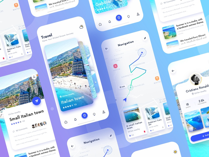 Travel dynamic effect design card ux app ui design app ios color icon ui