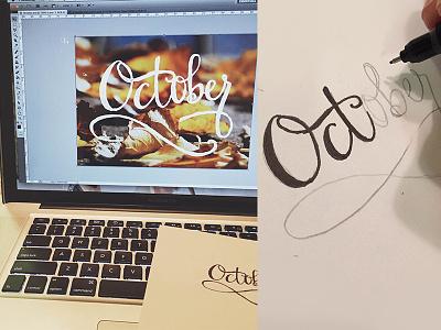 Hand Lettering lettered hand lettered autumn ligatures typography october lettering handlettering