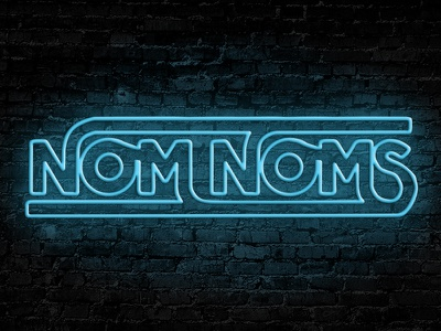 Neon Nom Noms snacking nom noms neon neon sign custom typography custom type type pen tool lettering typography