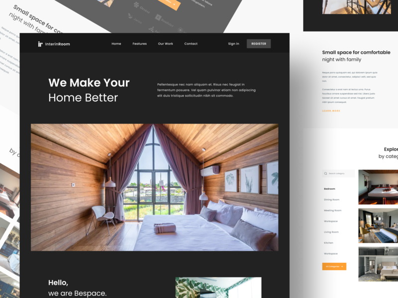 Interin Room - Exploration Landing Page peoduct interior dekoration clean ui design building booking adventure trip homepage landingpage website ui design