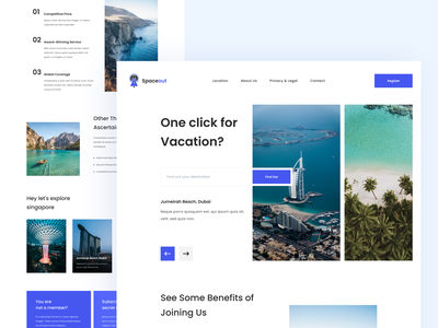 Traveling - Exploration Landing Page ticket booking search ticket trip travel webdesign landing page homepage taveling ux website ui clean design