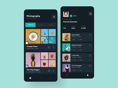 Photography Aplication dark theme profile photography app ux mobile apps ui design