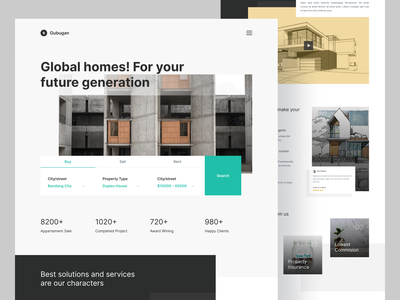 GUBUGAN - Home Property Landing Page agency consulting solution minimalist property home branding landingpage landing page homepage website ux apps ui clean design