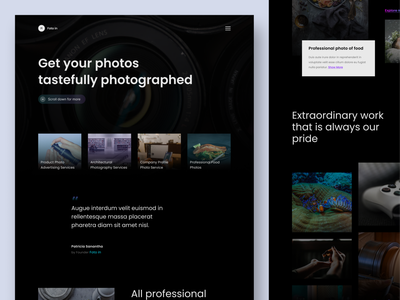 Foto in - Photography Services Website photos dark theme dark ui photographer photography vector branding landing page landingpage homepage website ux clean ui design