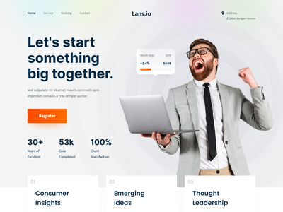 Lans.io - Business Consultant Landing Page product financial finance icon services agency website agency company consultancy consulting business webdesign landing page landingpage homepage website ux clean ui design