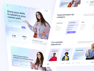 """"""" Lori """" - Learning Website class college school educate education teaching e-learning student online platform courses study lesson learning homepage website ux ui clean design"""