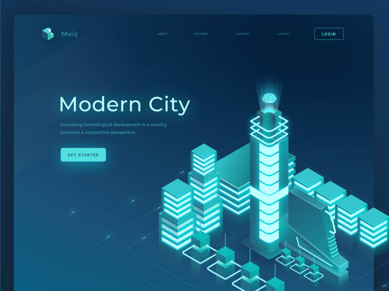 The Never Sleep City smart city bitcoin mining city header page landing hero isometric animation ui design illustration
