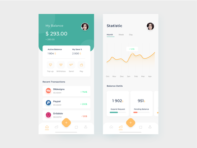 Wallet App profile wallet pay statistic currency financial card mobile apps design