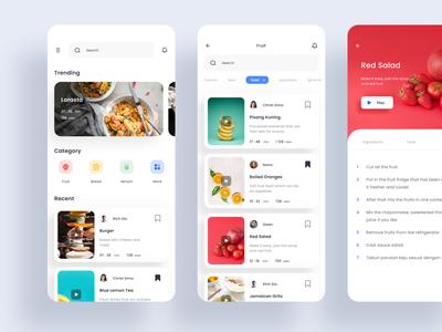 Food App mobile ui apps design clean recipe eat app food