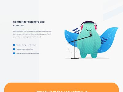 Music ui website monster music illustration clean design