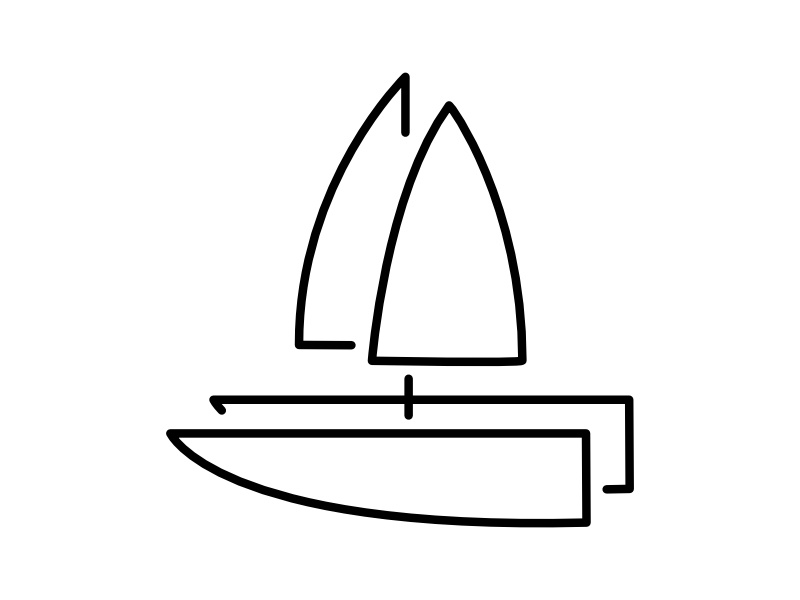 Catamaran icon ship outline