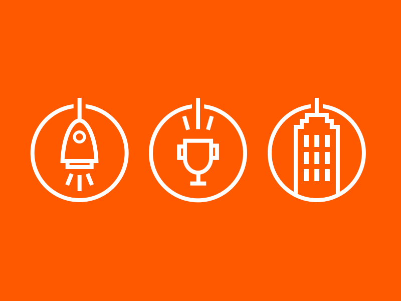 Rocket Trophy Skyscraper Icons round lines icon winner building skyscraper cup trophy startup rocket