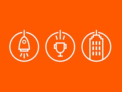 Rocket Trophy Skyscraper Icons round lines icon winner building skyscraper cup trophy startup rocket