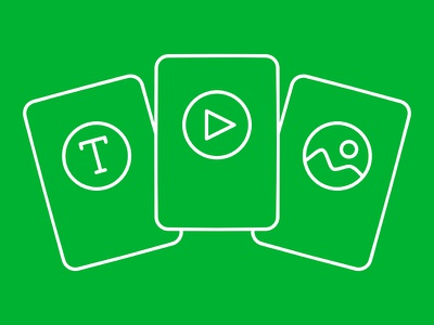 Cards file types file stack cards lines green icon image video text