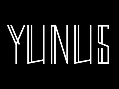 YUNUS Logo typography white black custom type logo rap band