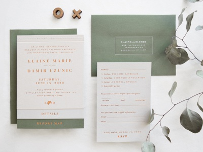 Elaine + Damir — Wedding Suite wedding invite rustic copper foil copper letterpress catskills monogram wedding branding