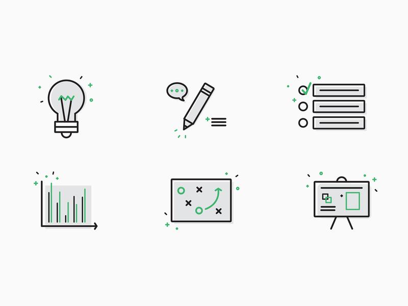 Smart Technology Icon Set pencil presentation list light bulb branding smart tech technology icons