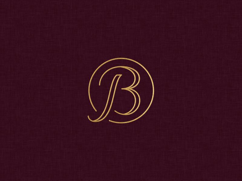 JB Wedding Monogram initials mark circle identity outline script burgundy wedding gold foil jb monogram logo