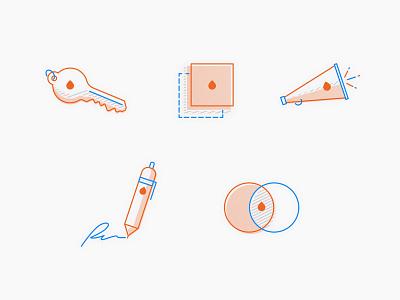 Values Icons —Percolate venn diagram pen megaphone key company values percolate icons icon illustration identity branding