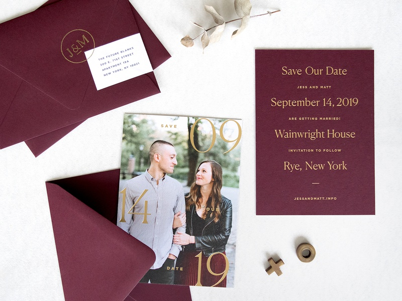 Burgundy + Gold Save the Date stationery burgundy gold foil monogram save the date wedding print