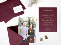 Burgundy + Gold Save the Date