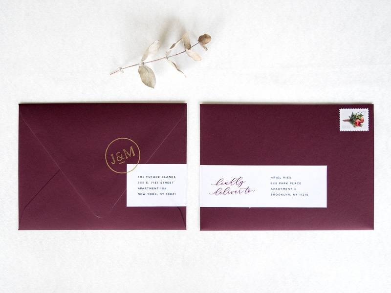 Burgundy Wedding Envelopes monogram stamp address burgundy stationery envelopes wedding