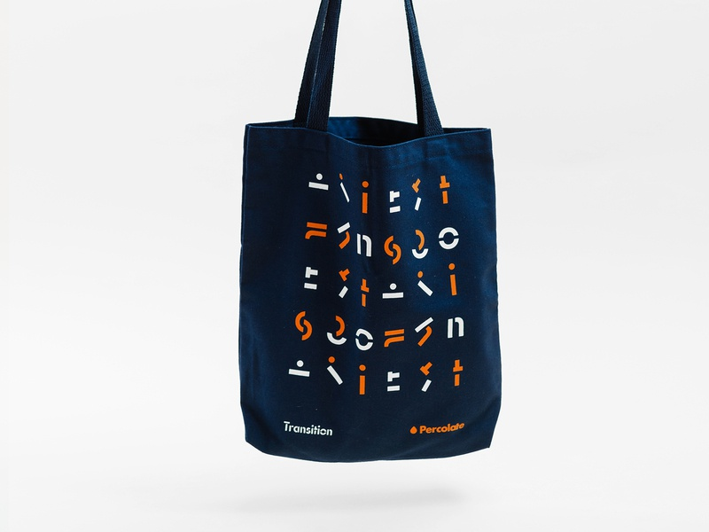 Transition Tote totebag tote orange pattern transition percolate geometric identity branding