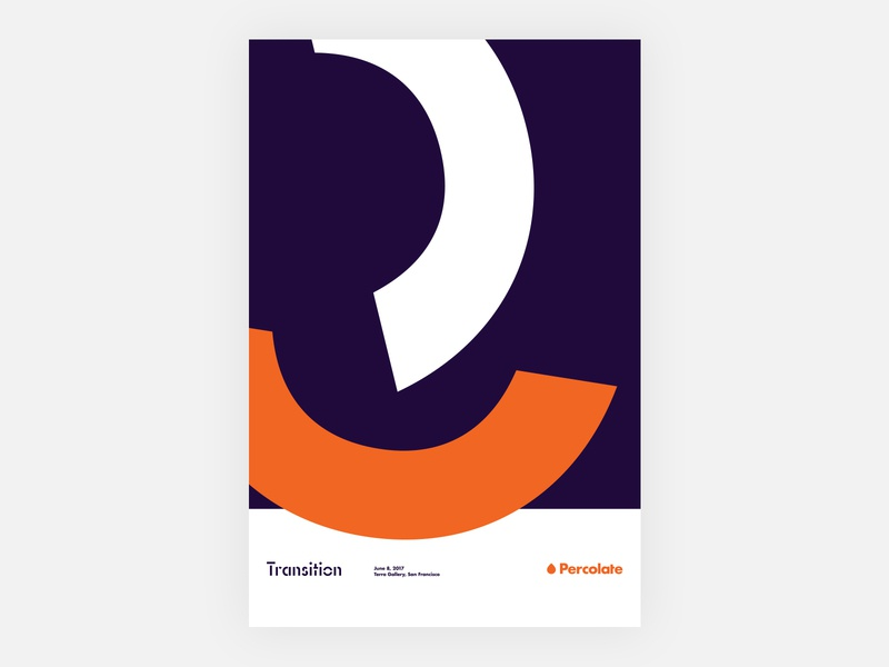 Transition Poster event poster orange transition shapes percolate geometric identity branding