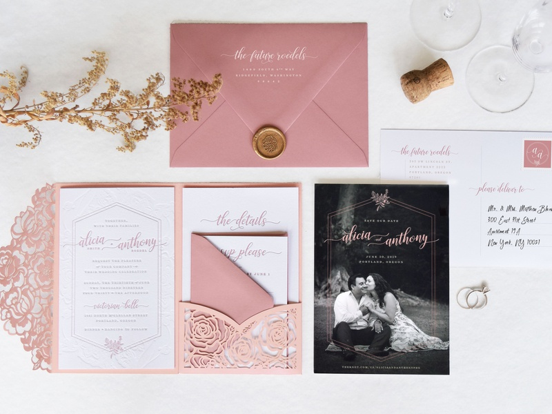 Dusty Rose Wedding Invitation Suite monogram dusty pink suite rose gold rose save the date invitation wedding invitation wedding