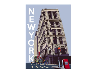 New York Vintage Poster Flat Illustration