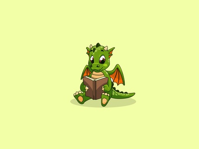 Cute dragon cartoon mascot character