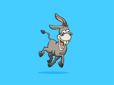 Funny goofy donkey cartoon character