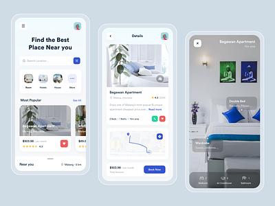 Sevva - Mobile Apps blue book augmentedreality ios mobile ui mobile app productdesign product branding minimal design ux ui uiux house apartment rent uxdesign uidesign app